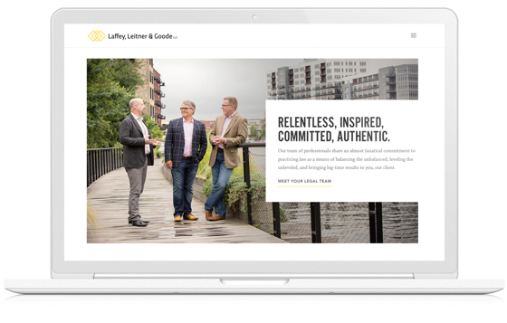 The new web design for Laffey, Leitner, and Goode