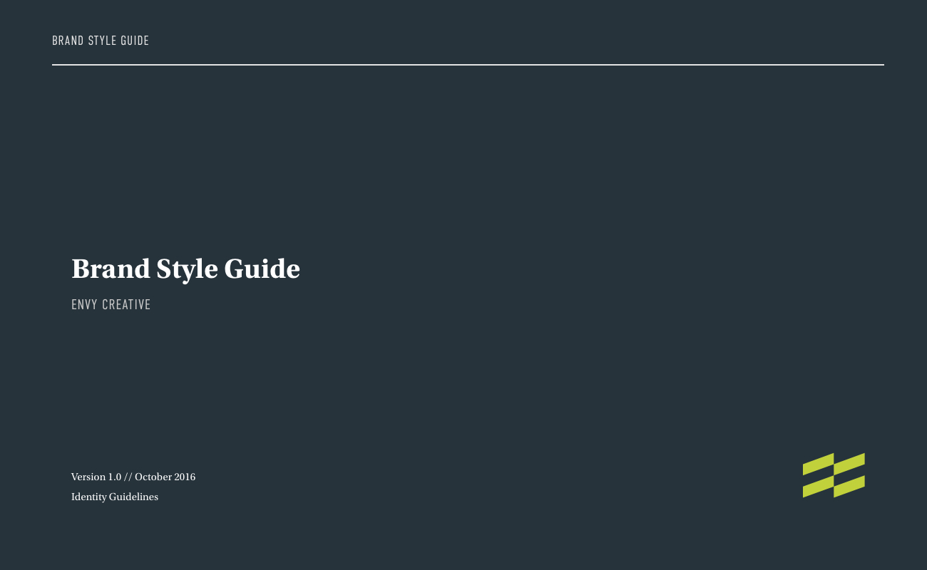 Envy Brand Style Guide Page 1