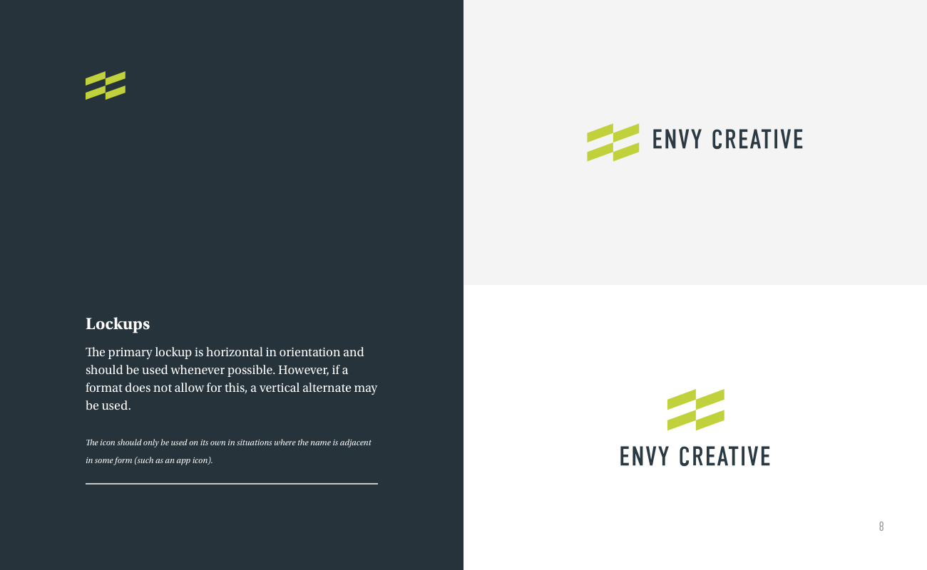 Envy Brand Style Guide Page 8